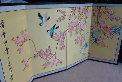 Oriental Chinese Shing Huo Blossom Silk 4 Panel Folding Wall Hanging Screen Art