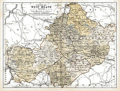An enlarged 1897 map of County West Meath,  Ireland.