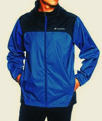 Mens Medium (M) blue Columbia Glennaker Lake waterproof rain jacket MSRP $60 NWT