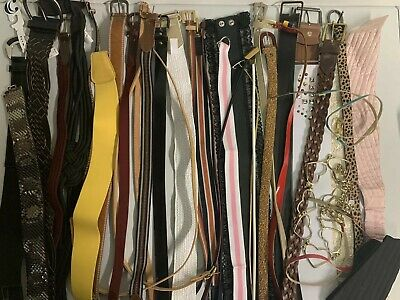 Huge Lot of 36 Assorted Women's Belts - Size S Small - All Different Styles