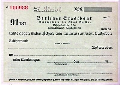[CF4093] Cheque del BERLINER STANDTBANK en blanco, antiguo