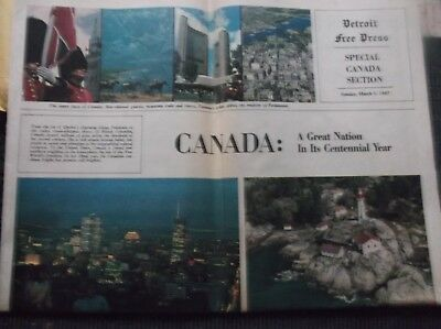 Vintage Newspaper Detroit Sup.CANADA CENTENNIAL YEAR Sunday March 5,1967