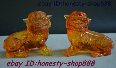 """4"""" Chinese Amber Carved Foo Fu Dog Guardion Lion Ball Lionet Animal Statue Pairs"""