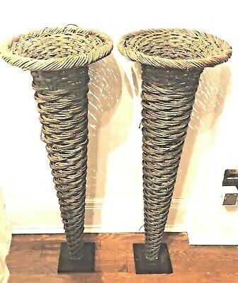 "Large Antique Pair of Victorian Wicker 36"" Trumpet Floor Floral Vases Baskets"