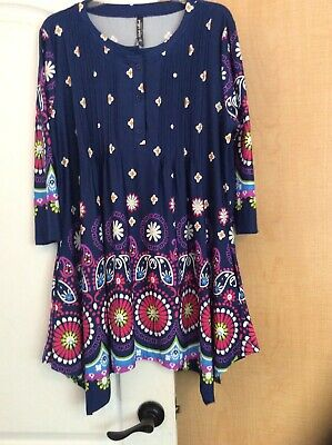80bdbd036 New White Mark - Navy/Multi Color Printed Women Tunic Top Plus Size 1X