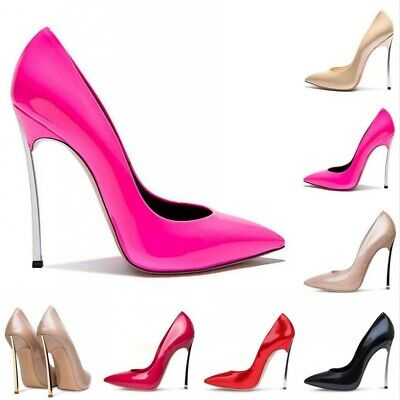 Women New Sexy 12CM High Stiletto Heel Slip On Shoes Pumps Evening Party Bridal