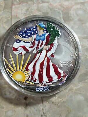 2005 American Silver Eagle - Colorized In a BRAND NEW CAPSULE 1 Troy OUNCE