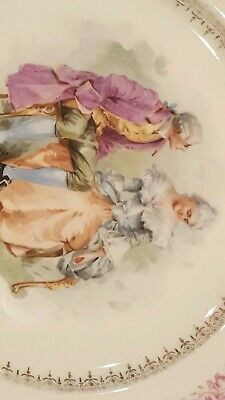 ANTIQUE  HAND PAINTED CORTING COUPLE ROYALTY  PORTRAIT PLATE Signed  NR