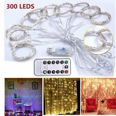 300 LED Curtain Fairy Lights USB String Hanging Wall Lights Xmas Wedding Party
