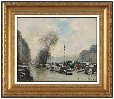 Jules R. Herve Original Painting Oil On Canvas Paris Cityscape Signed Framed Art