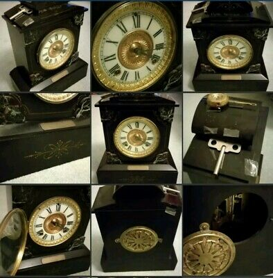 *Used* Beautiful Vintage Slate Marble-Style Black Heavy Mantel Clock Chimes etc