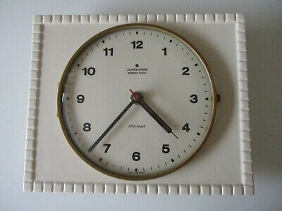 Vintage Junghans Ato Mat Ceramic Wall Clock Germany