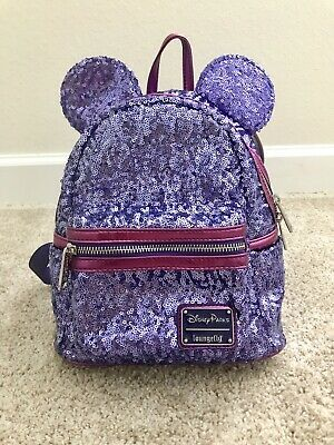 2f1696cb953 Disney Parks Minnie Mouse Potion Purple Sequined Mini Backpack by Loungefly