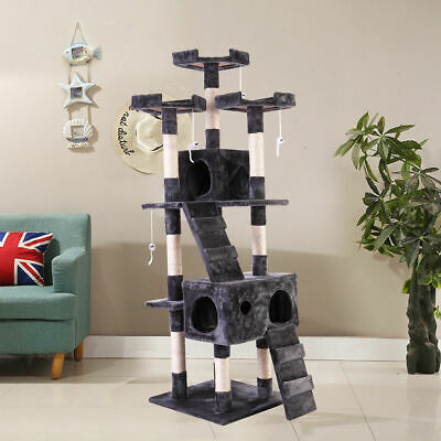 """67"""" Cat Tree Tower Condo Furniture Scratching Post Pet Kitty Play House Gray"""