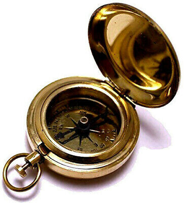 Classic Bday MEN BIRTHDAY GIFT Antique Brass Pocket Compass Retro Scout Camping