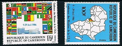 Cameroon stamps, 1986 Econ. Commission #1117-8, Scott 810-1 Hinge trace