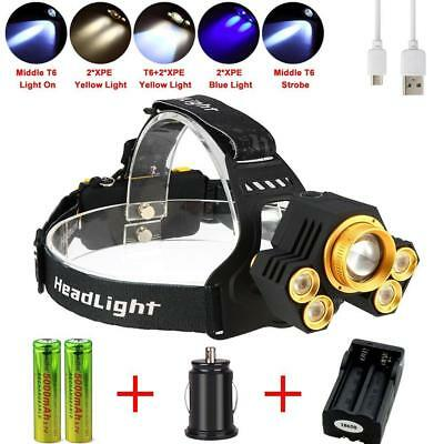 Zoomable 90000LM  5 LED USB Headlight 5 Modes Light 18650 Battery Charger BG