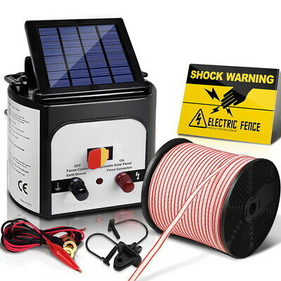 Giantz 8km Solar Electric Fence Energiser 0.3J Energizer Charger Poly Wire 400M