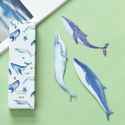 30Pcs Colorful Vivid Giant Whale Paper Bookmark Cartoon Animals Gift Pack Cute