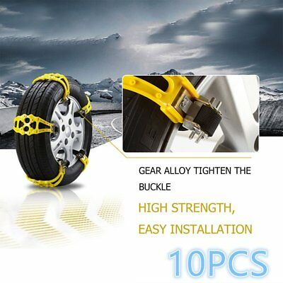 10PCS Car Truck Snow Ice Wheel Tyre Tire Anti-skid Chains Thickened Tendon Kit+L