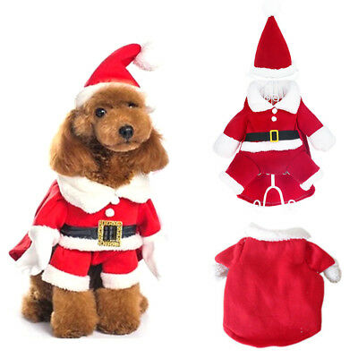Christmas Pet Small puppy Dog Cat Santa Claus Costume Outfit Jumpsuit Cosplay