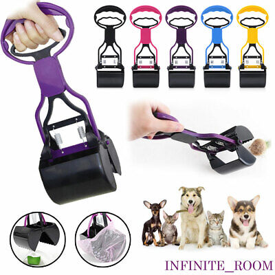Pet Pooper Scooper Long Handle Jaw Pick Up Waste Dog Puppy Cat Cleaning Outdoor