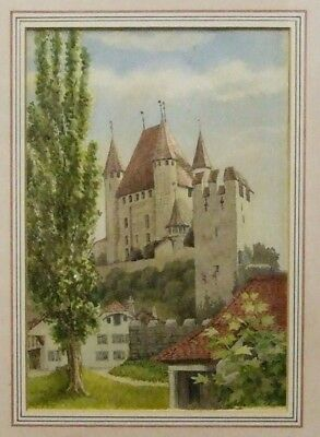 Original old watercolour Thun Castle Switzerland old view