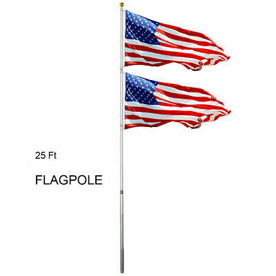 25 FT Flagpole Aluminum Kit Sectional Halyard Pole with 3'x 5' American Flag US