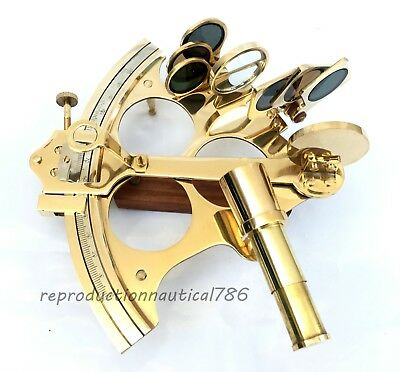 Handmade Shiny Brass Marine Sextant Collectible Nautical Sextant Desktop Decor