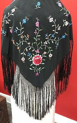 Antique Vintage Hand Embroidered Reversible Silk Piano Shawl Floral