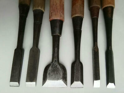 Japanese Used Chisel Nomi with Sign Set of 6 Carpentry Tool Japan Blade