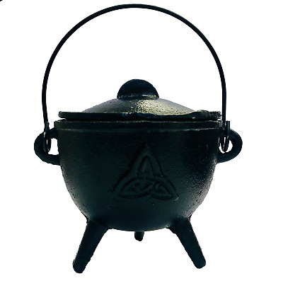 Cauldron Cast Iron + Lid TRIQUETRA Smudging Ritual Magic Resin Pot 11.5 x 17cmh