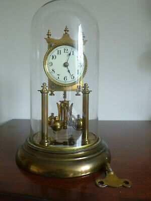 "German 400 Day Glass Dome Anniversary Clock 12"" Working."