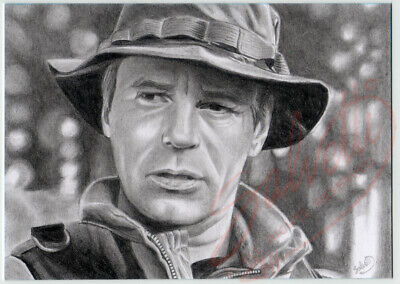 ACEO Original Pencil Sketch Card JACK O' NEILL Richard D. Anderson STARGATE SG1