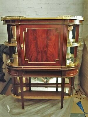 Exceptional Antique TALL French Empire Flame Mahogany, Brass & Mirrored Etagere