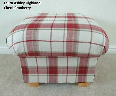 Laura Ashley Footstool Red Highland Check Cranberry Fabric Footstall Pouffe