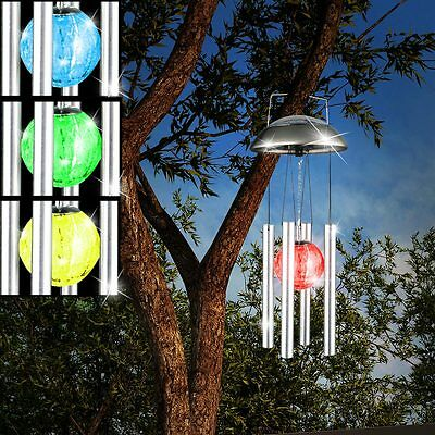 RGB LED Solar Light Stainless Steel Balcony Wind Chime Colour Changing
