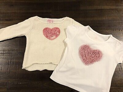 Pink Heart Tee And Jumper Size 18 Months Used