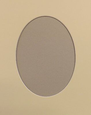 "4 x 7"" x 5"" Oval Aperture, Soft White 10/8"" O/Size  Photo/Picture Mount Card."