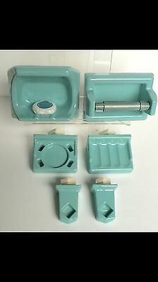 🎀6 Pc Turquoise Bathroom Set Porcelain Ceramic VINTAGE Soap Toilet Roll Towel