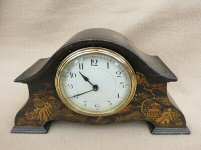 Vintage Edwarian Chinoisserie Lacquered 8 Day Mantel Clock.
