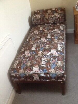 Vintage Day Bed. Re covered With Teddy Bear Image Material.