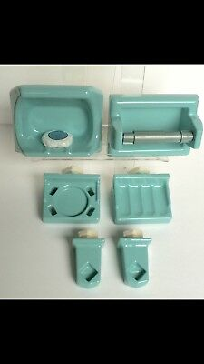 🎀 6 Pc Seafoam Bathroom Set Porcelain Ceramic 1960's VINTAGE Soap Cup Towel Bar