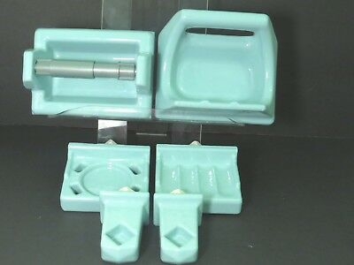 🎀 6 Pc Turquoise BATHROOM SET Porcelain Ceramic 1960's VINTAGE Soap Cup Towel