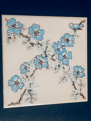 🎀 6 Floral Ceramic Wall Tiles - ANTIQUE - H&R Johnson 6 X 6 From 1960's ENGLAND