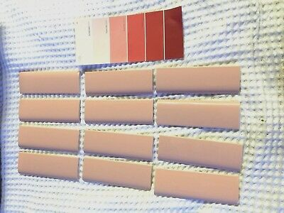 🎀 12  PEACH  Border Wall Trim Tile -H&R Johnson 1960's ENGLAND Vintage Bullnose
