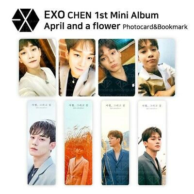 EXO CHEN - 1st Mini Album : April and a flower Official Photocard & Bookmark SET