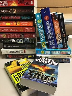 Lot of 10 Mystery Thriller Fiction Paperbacks Popular Author Books MIX UNSORTED