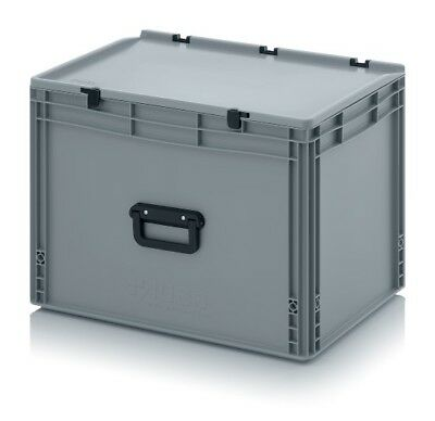 Plastic Box 60x40x43, 5 with Grip & Lid Storage Box Stacking Crates Chest