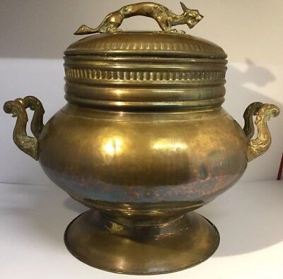 Large 20th Century Solid Brass Chinese Censor / Handled Pot Dragon Finial 12.5""